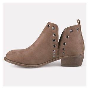Journee Firth Side Slit Studded Ankle Boots